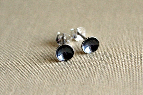 Tiny Craters Oxidized Sterling Silver Post Earrings
