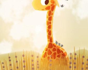 "Giraffe Print, Giraffe Nursery Decor, Baby Giraffe Art, Modern Family Nursery Art, Wall Art - ""Savannah"""