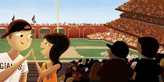 "SF Giants, San Francisco Giants, Giants Baseball, Baseball Art, Wall Decor - ""America's Passtime"""