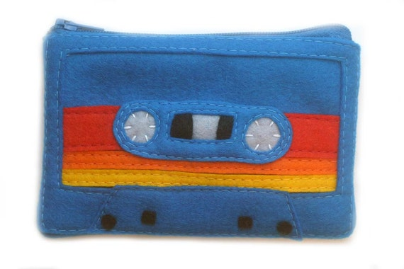 Cassette Tape Pouch - Mix Tape Wallet - Royal Blue Striped