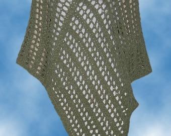 Crochet Pattern - Poncho - Mountain Meadow - Moss - Green - One Size - Adult - PDF