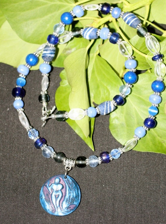 Moon Goddess in Blue Necklace - Pagan, Wicca, Witchcraft, Divine Feminine - Glass, Stone, Vintage Beads