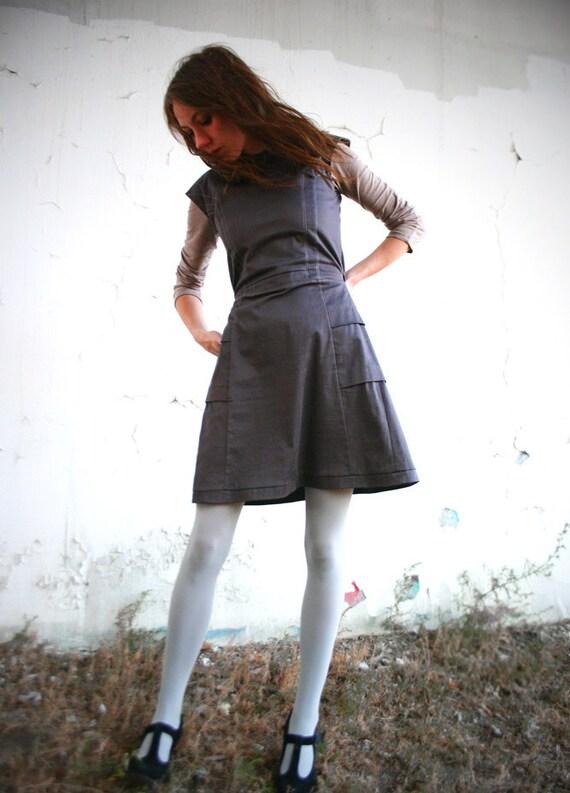 SHALE-Gray Cotton Sateen Shift Dress