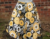 Black & Gold Floral Asymmetrical Circle Skirt with Lace