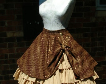 Custom Steampunk Ruffle skirt with drawstring bustle