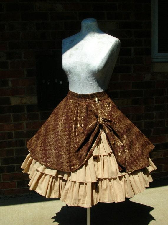 Custom Steampunk Ruffle skirt with drawstring bustle
