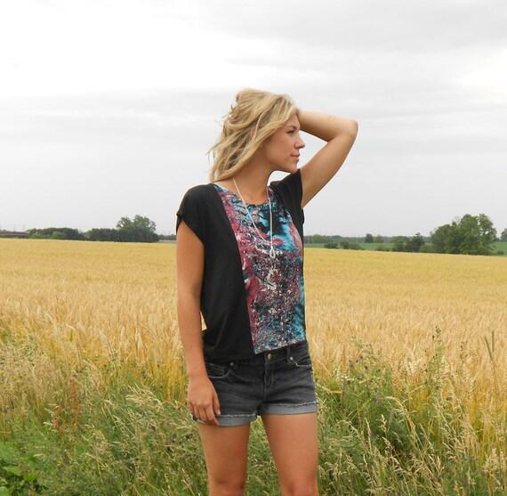 Slouch t-shirt, Box tee - Black modal and galaxy print - Small/Medium