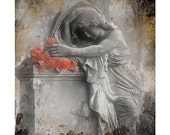 Angel, Gothic, silver metallic paper, flowers, nature, graveyard - Red Roses