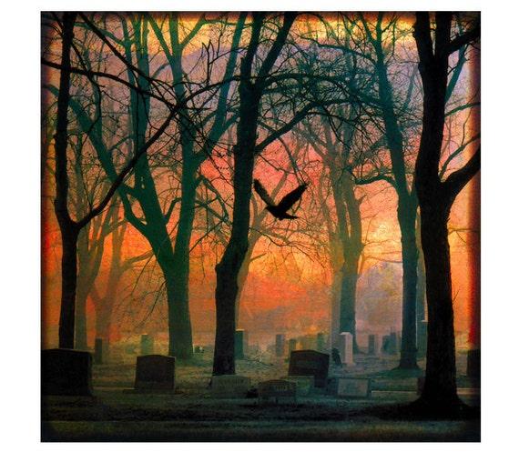 graveyard trees, red, dark shadows,TTV, Photo Print, flying crow - Red Mystic Graveyard