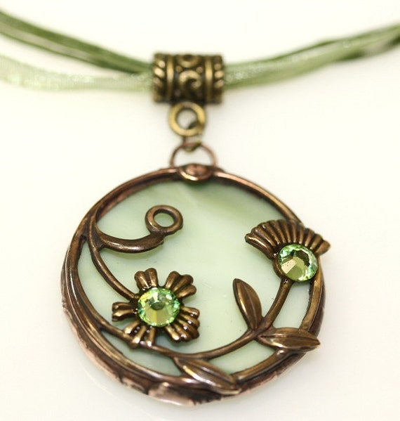 Round Stained Glass and Filigree Pendant (SGVL-P5) (RESEREVED for DIVYA)