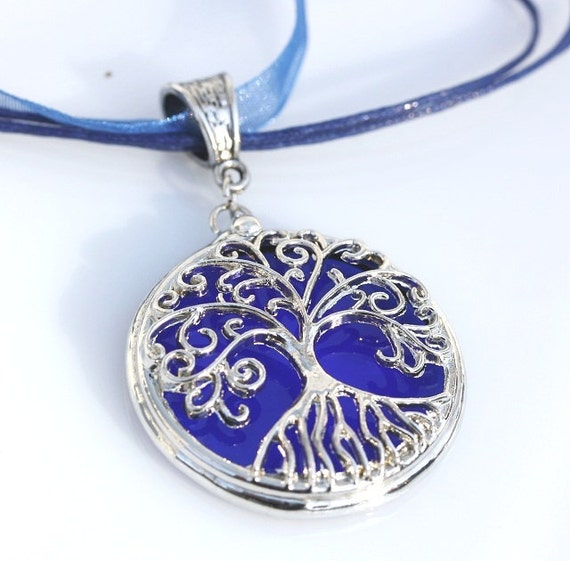 Round Stained Glass and Filigree Pendant - Tree of LIfe (SGT-P3)