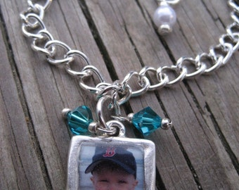 Custom Photo Charm Bracelet Featuring Etched Pewter Charm with Swarovski Crystals Close to My Heart Series Personalized Photograph Jewelry