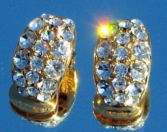 Wedding Vintage Rhinestones Earrings Crystals Hollywood Marilyn Pave Channel Bling Haute Couture Runway Dripping Clips Art Deco Style Prom