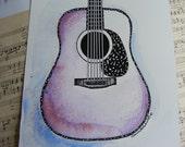 Handpainted Original Watercolor Painting, Illustration, Vintage Dreadnought Acoustic Guitar, Personalize, Pick Your Color, Art, Music, Gift
