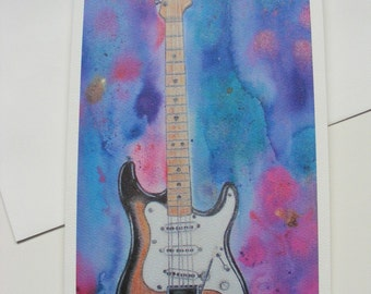 Vintage Fender Stratocaster Large Blank Card, Watercolor Painting, Suitable For Framing, Illustration, Watercolor Painting, Art, Pop Art