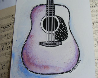 Guitar Painting, Original Watercolor, Guitar Watercolor, Acoustic Guitar, Handpainted, Guy gift, Music Room, Acoustic Guitar Art, Original