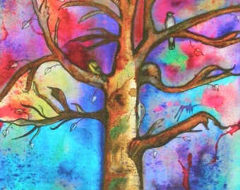 Tree Watercolor, Tree Painting, Tree Art, Rainbow Tree, Contemporary Tree, Bold Colors, Tree With Birds, Abstract Tree, Tree Print, Nature