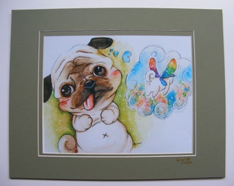 Adorable, Handmade, Pug Print, Pug Watercolor, Fantasy Pug, Pug Painting, Pug Art, Pug Dreaming, Beige, Black, Rainbow, Flying Pug,  Matted