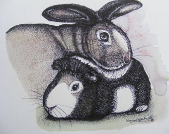 Original Watercolor Painting & Pen N Ink Illustration, Childrens Nursery Wall Art, Guinea Pig And Bunny Rabbit, Can Be Personalized, Animals