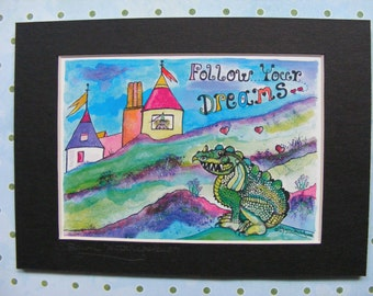 Dragon Fantasy Chilrens Illustration, Fine Art Matted Print, Castle, Princess, Colorful, Baby, Nursery, Watercolor