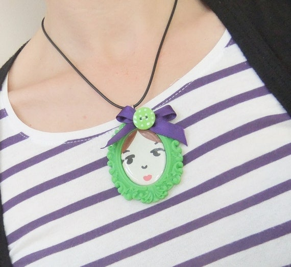 SALE - Hello doll face necklace - Green - ooak