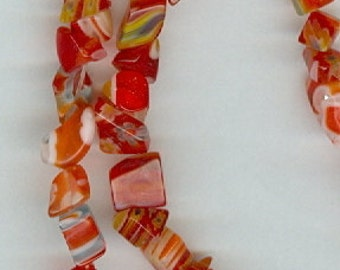 Red and Yellow Millefiori Glass Flower Chip Beads 32 inch Strand Bead Chips