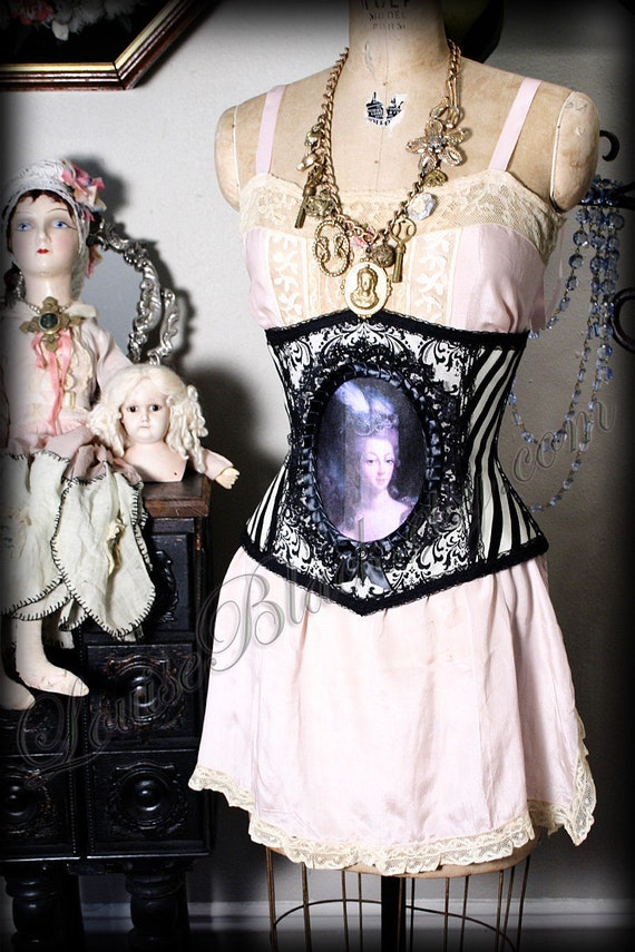 Marie Antoinette Cameo Corset in Rococo and Stripe Fabrics by Louise Black Custom made to your Measurements