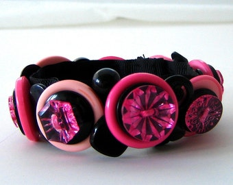 Button Bracelet Pink and Black Retro Rockability Snap On Gift for Women