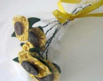 Mini Sunflower Fabric Yoyo Button Flower Bouquet Room Decor Fragrance Free Table Favors