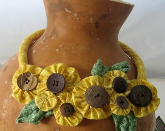 Sunflower Fabric Necklace Yoyos and Buttons Statement Bib Snap On Fiber Art to Wear