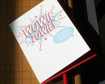 SALE 50% OFF letterpress comic book style wowie zowie! you're the best, thanks! greeting card pack of 6 red & blue thank you