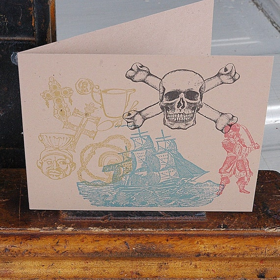 letterpress pirate skull & crossbones hidden treasure greeting card with arrrrrrr envelope