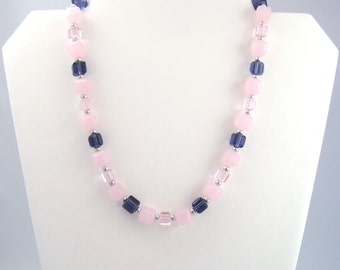 Chunky Necklace, Chunky Pink Necklace, Light Pink Necklace, Pink Purple Fashion Jewelry, Cube Necklace, Spring Necklace, Teen Jewelry