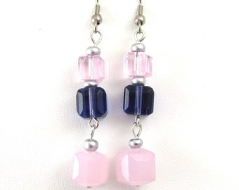 Light Pink Earrings, Pale Pink Earrings, Pink Purple Fashion Jewelry, Earrings Dangle Earings, Cube Earrings, Long Earrings, Spring Earrings