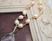 Collier de perles, pendentif, perles d'eau douce pêche, pêche des cristaux, perles naturelles, bijoux de pêche, Chalet Chic collier, mariée