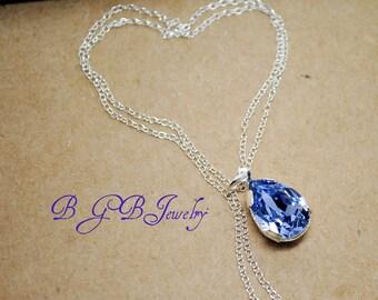 Lavender Pendant Necklace, Swarovski Pear Rhinestone Pendant, Faceted Teardrop, Bridesmaids Necklace, Bridal Jewelry, Lavender Wedding N280
