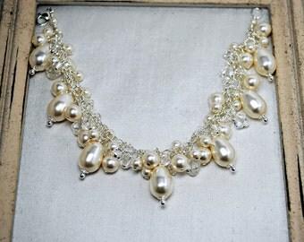 Pearl Bridal Bracelet, Swarovski Crystal and Pearl Bracelet, Cluster, Drape, Teardrop Pearls, Bridal Jewelry, Wedding Bracelet, Sparkle