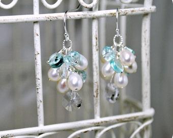 Bridal Earrings, Freshwater Pearl Cluster Earrings, Beach Wedding, Swarovski Crystals, Something Blue, Wedding Earrings, Ivory, White, Aqua