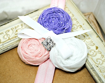 Rosette Flower Headband, Pink, Purple, Photo Prop, Stretch Hair Band, Hair Clip, Hand Rolled Fabric Flower Hair Accessory