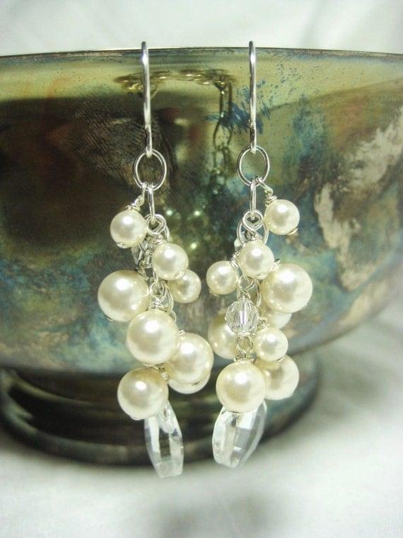 Wedding Pearl Earrings, Ivory Pearl Cluster Bridal Earrings, Cascading Crystal and Pearl Earrings, Swarovski Pearl Earrings, Wedding jewelry