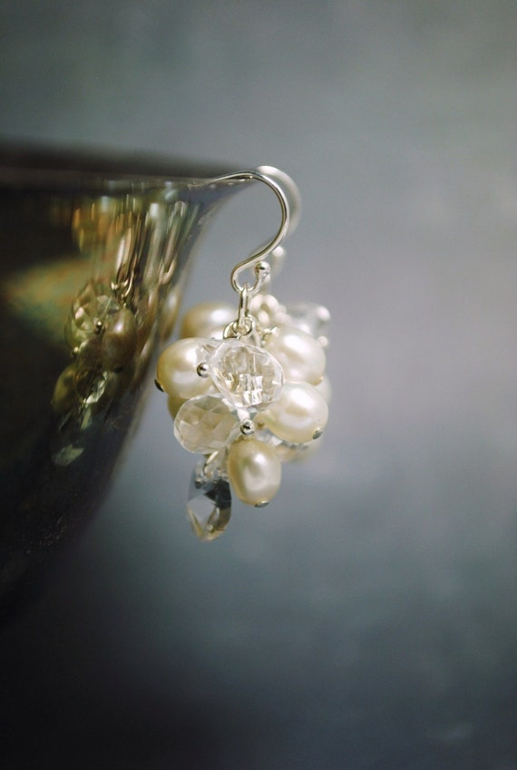 Bridal Pearl Earrings, Freshwater Pearl Cluster Earrings, Wedding Earrings, Bridal Jewelry, Beach Wedding Earrings, Bridesmaids Earrings