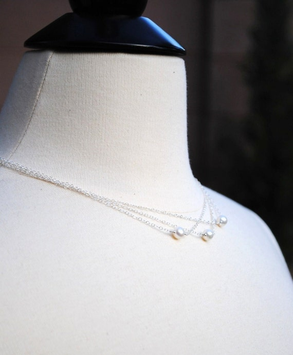 Bridal Necklace, White, Ivory Freshwater Pearls, Multi Strand Sterling Silver Chain, Wedding, Bridesmaids, Beach, Layering