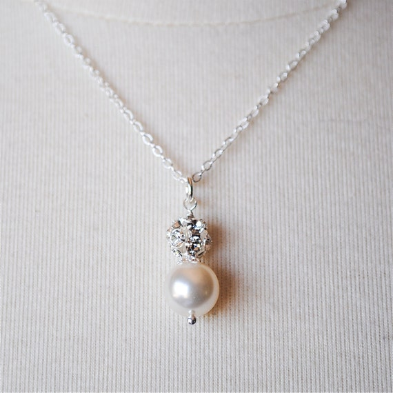 Bridal Necklace, Ivory Pearl Pendant Bridal Necklace, Bridesmaids Necklace, Wedding Jewelry, Rhinestone Ball Pendant, Ella N236B