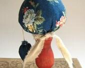 Miniature Make-Do Strawberry Pincushion / Red Base - Early American / Folk Art / Primitive Decor