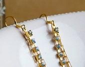 Shimmering Twilight - Golden Rhinestone Strand Earrings