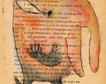 Gold Lashes Monoprint Monster on French book page