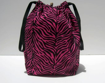 HOLIDAY SALE - Animal Print Drawstring Knitting Project Bag