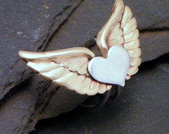 Brass & Sterling Ear Cuff - WINGED HEART -  Mixed Metal Silver and Brass Ear Wrap