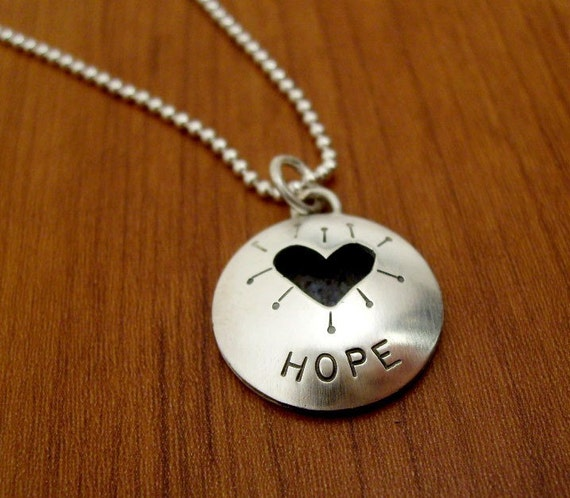 Hope with Heart Cut-Out Pendant on 18 inch  Ball Chain - Recycled sterling silver
