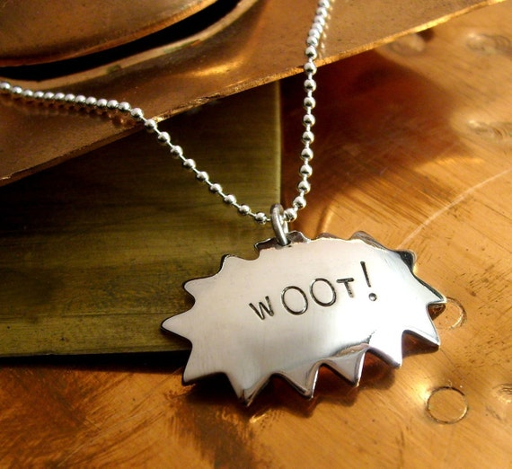 wOOt - Comic Book Charm Geekery Necklace with 18 inch  ball chain - Recycled sterling silver